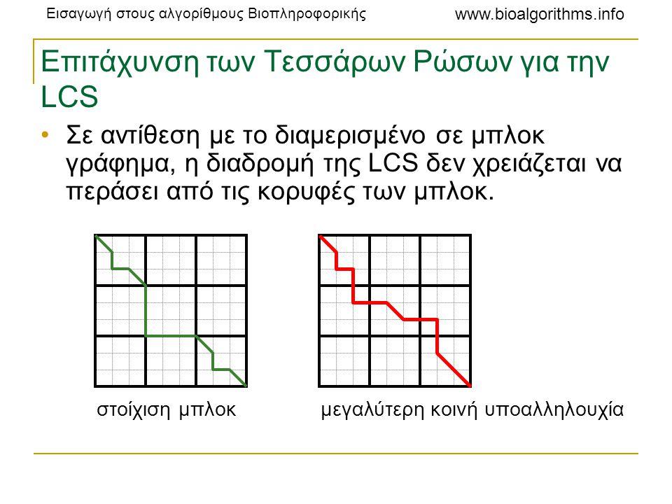 Εισαγωγή στους αλγορίθμους Βιοπληροφορικής www.bioalgorithms.info Επιτάχυνση των Τεσσάρων Ρώσων για την LCS •Σε αντίθεση με το διαμερισμένο σε μπλοκ γ