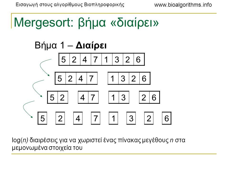 Εισαγωγή στους αλγορίθμους Βιοπληροφορικής www.bioalgorithms.info Mergesort: βήμα «βασίλευε» Βήμα 2 – Βασίλευε 12234567 24571236 25471326 52471326 O(n) O(n logn) logn επαναλήψεις, κάθε επανάληψη απαιτεί χρόνο O(n).