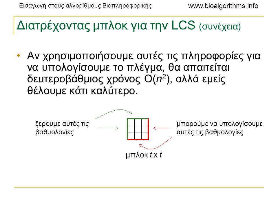 Εισαγωγή στους αλγορίθμους Βιοπληροφορικής www.bioalgorithms.info Διατρέχοντας μπλοκ για την LCS (συνέχεια) •Αν χρησιμοποιήσουμε αυτές τις πληροφορίες