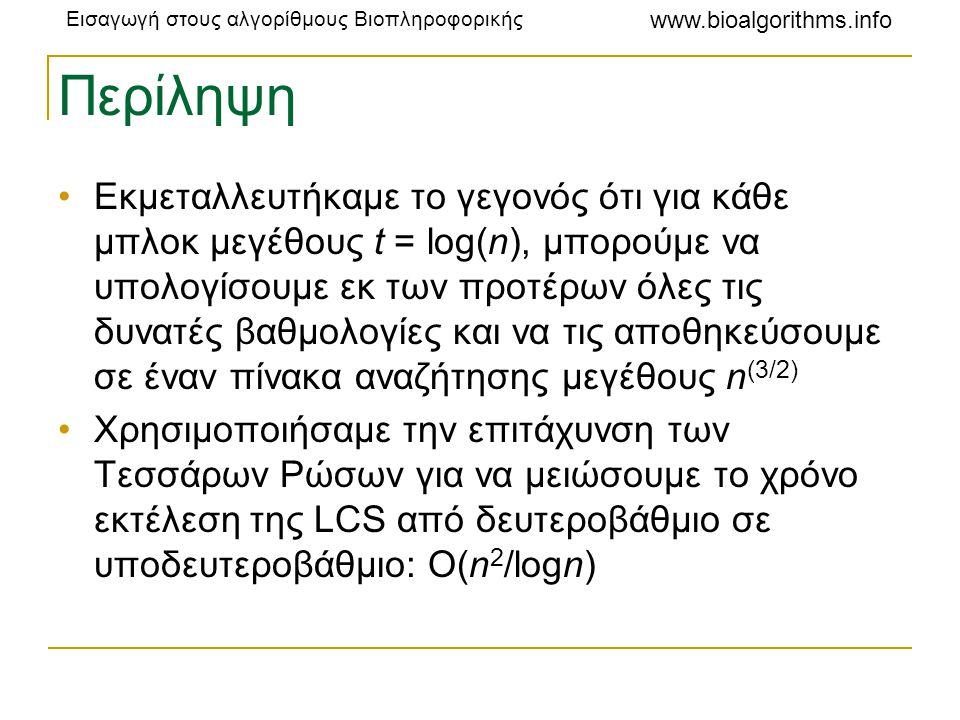 Εισαγωγή στους αλγορίθμους Βιοπληροφορικής www.bioalgorithms.info Περίληψη •Εκμεταλλευτήκαμε το γεγονός ότι για κάθε μπλοκ μεγέθους t = log(n), μπορού