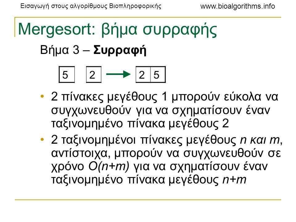 Εισαγωγή στους αλγορίθμους Βιοπληροφορικής www.bioalgorithms.info Mergesort: βήμα συρραφής Συρραφή 2 πινάκων μεγέθους 4 2457 1236 1 2457 236 12 457 236 122 457 36 1223 457 6 12234 κλπ… 12234567