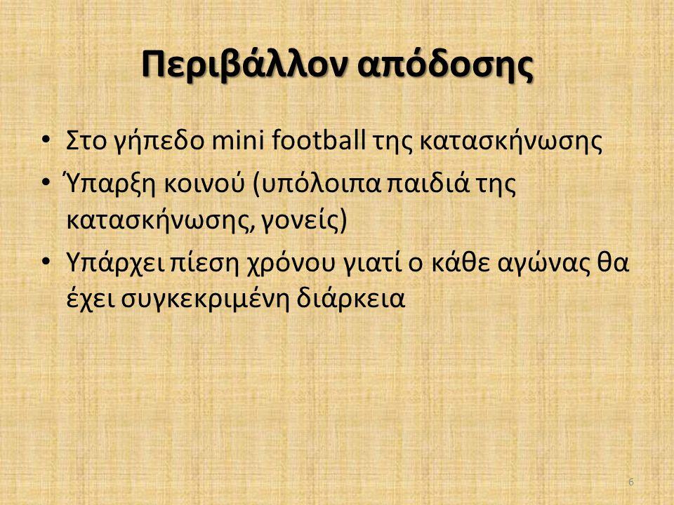 Περιβάλλον απόδοσης • Στο γήπεδο mini football της κατασκήνωσης • Ύπαρξη κοινού (υπόλοιπα παιδιά της κατασκήνωσης, γονείς) • Υπάρχει πίεση χρόνου γιατ