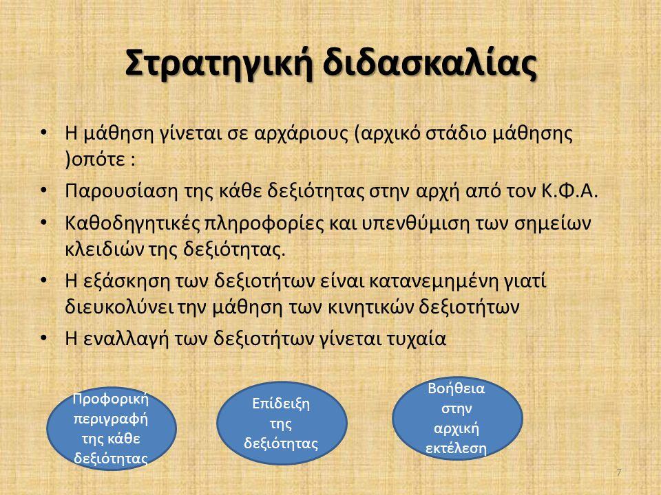 Στρατηγική διδασκαλίας • Η μάθηση γίνεται σε αρχάριους (αρχικό στάδιο μάθησης )οπότε : • Παρουσίαση της κάθε δεξιότητας στην αρχή από τον Κ.Φ.Α. • Καθ