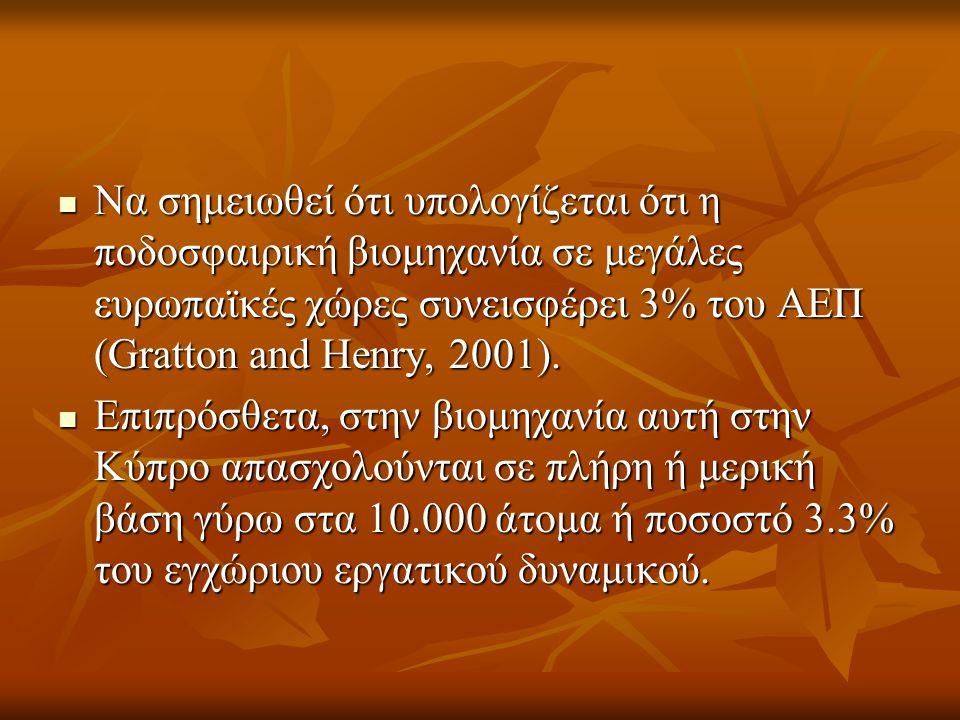  Να σημειωθεί ότι υπολογίζεται ότι η ποδοσφαιρική βιομηχανία σε μεγάλες ευρωπαϊκές χώρες συνεισφέρει 3% του ΑΕΠ (Gratton and Henry, 2001).
