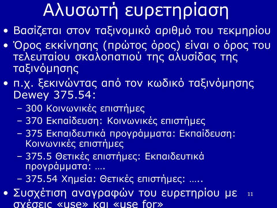 11 Αλυσωτή ευρετηρίαση •Βασίζεται στον ταξινομικό αριθμό του τεκμηρίου •Όρος εκκίνησης (πρώτος όρος) είναι ο όρος του τελευταίου σκαλοπατιού της αλυσίδας της ταξινόμησης •π.χ.