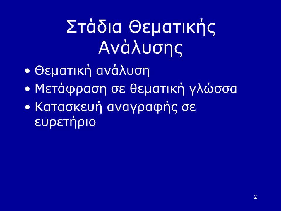 2 Στάδια Θεματικής Ανάλυσης •Θεματική ανάλυση •Μετάφραση σε θεματική γλώσσα •Κατασκευή αναγραφής σε ευρετήριο
