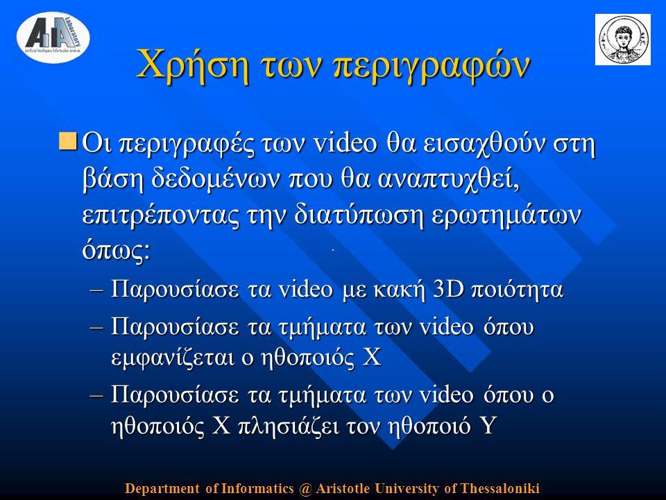 Department of Informatics @ Aristotle University of Thessaloniki Χρήση των περιγραφών  Οι περιγραφές των video θα εισαχθούν στη βάση δεδομένων που θα αναπτυχθεί, επιτρέποντας την διατύπωση ερωτημάτων όπως: –Παρουσίασε τα video με κακή 3D ποιότητα –Παρουσίασε τα τμήματα των video όπου εμφανίζεται ο ηθοποιός X –Παρουσίασε τα τμήματα των video όπου ο ηθοποιός X πλησιάζει τον ηθοποιό Υ
