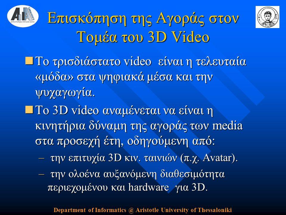 Department of Informatics @ Aristotle University of Thessaloniki Επισκόπηση της Αγοράς στον Τομέα του 3D Video  Το τρισδιάστατο video είναι η τελευταία «μόδα» στα ψηφιακά μέσα και την ψυχαγωγία.