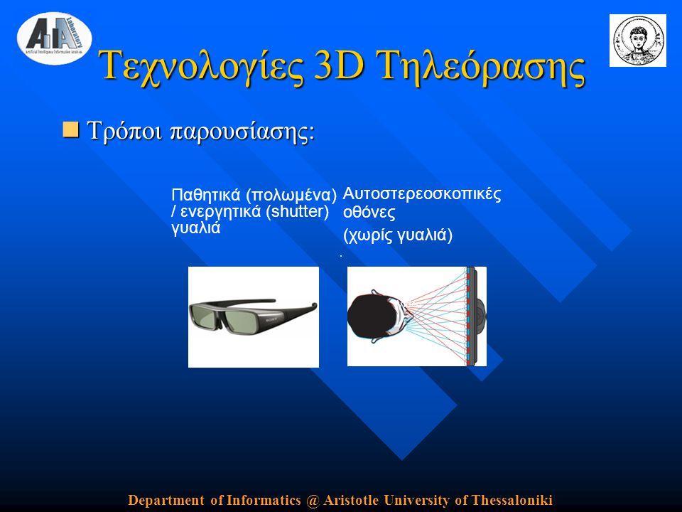 Department of Informatics @ Aristotle University of Thessaloniki Τεχνολογίες 3D Τηλεόρασης  Τρόποι παρουσίασης: Αυτοστερεοσκοπικές οθόνες (χωρίς γυαλιά) Παθητικά (πολωμένα) / ενεργητικά (shutter) γυαλιά Video
