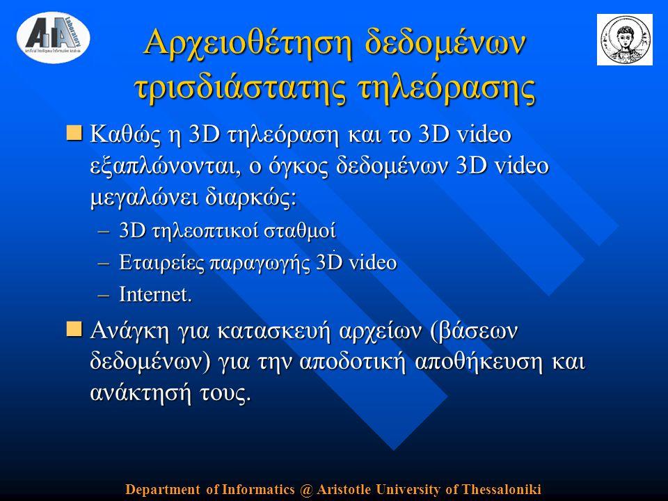 Department of Informatics @ Aristotle University of Thessaloniki Αρχειοθέτηση δεδομένων τρισδιάστατης τηλεόρασης  Καθώς η 3D τηλεόραση και το 3D video εξαπλώνονται, ο όγκος δεδομένων 3D video μεγαλώνει διαρκώς: –3D τηλεοπτικοί σταθμοί –Εταιρείες παραγωγής 3D video –Internet.