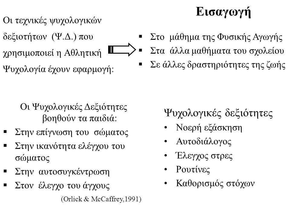 Εισαγωγή Οι τεχνικές ψυχολογικών δεξιοτήτων (Ψ.Δ.) που χρησιμοποιεί η Αθλητική Ψυχολογία έχουν εφαρμογή:  Στο μάθημα της Φυσικής Αγωγής  Στα άλλα μα