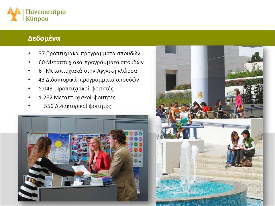Δεδομένα • 37 Προπτυχιακά προγράμματα σπουδών • 60 Μεταπτυχιακά προγράμματα σπουδών • 6 Μεταπτυχιακά στην Αγγλική γλώσσα • 43 Διδακτορικά προγράμματα
