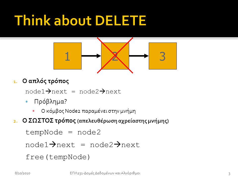1. Ο απλός τρόπος node1  next = node2  next • Πρόβλημα.