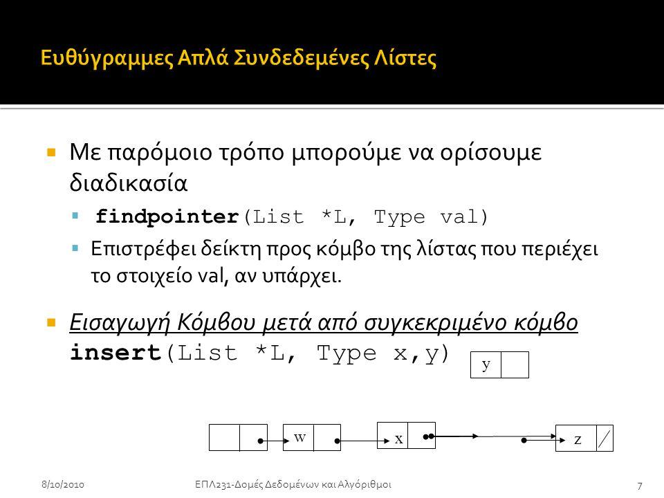8/10/2010ΕΠΛ231-Δομές Δεδομένων και Αλγόριθμοι8 insert(List *L, Type x,y) { r = findpointer(L,x); if (r == NULL) error else { q = (ListNode *)malloc(sizeof(NODE)); q->data = y; q->next = r->next; r->next = q; } }