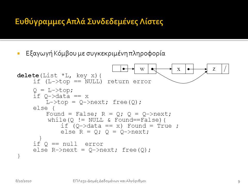  Εξαγωγή Κόμβου με συγκεκριμένη πληροφορία delete(List *L, key x){ if (L->top == NULL) return error Q = L->top; if Q->data == x L->top = Q->next; free(Q); else { Found = False; R = Q; Q = Q->next; while(Q != NULL & Found==False){ if (Q->data == x) Found = True ; else R = Q; Q = Q->next; } if Q == null error else R->next = Q->next; free(Q); } 8/10/2010ΕΠΛ231-Δομές Δεδομένων και Αλγόριθμοι9 w x z