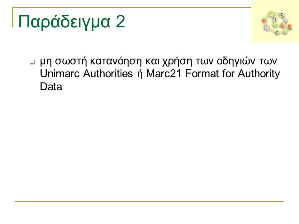 Παράδειγμα 2  μη σωστή κατανόηση και χρήση των οδηγιών των Unimarc Authorities ή Marc21 Format for Authority Data