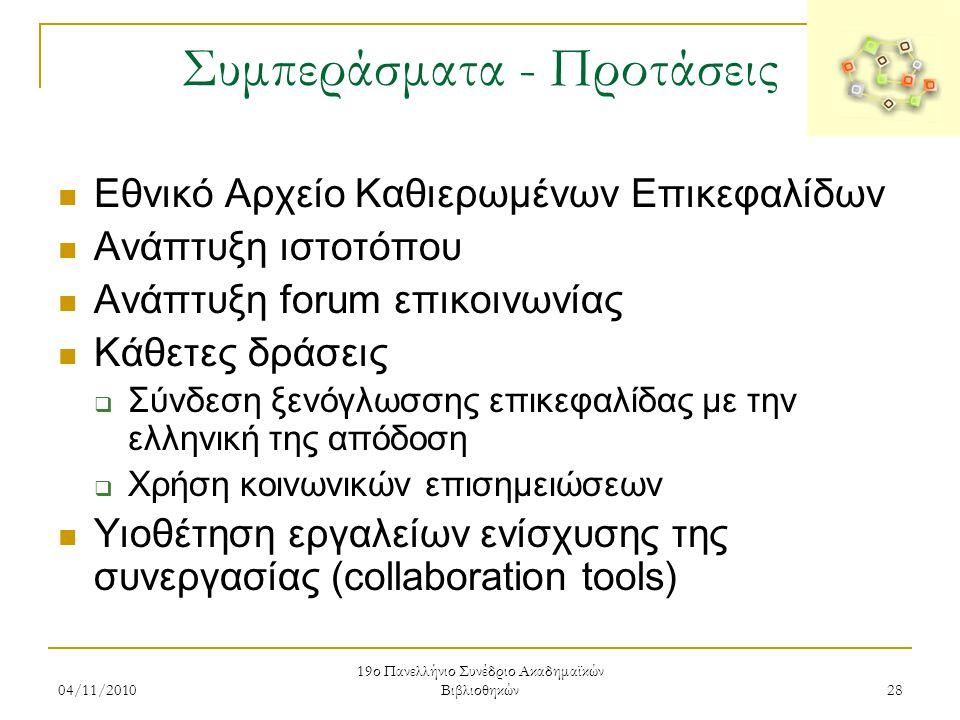 04/11/2010 19ο Πανελλήνιο Συνέδριο Ακαδημαϊκών Βιβλιοθηκών 28 Συμπεράσματα - Προτάσεις  Εθνικό Αρχείο Καθιερωμένων Επικεφαλίδων  Ανάπτυξη ιστοτόπου