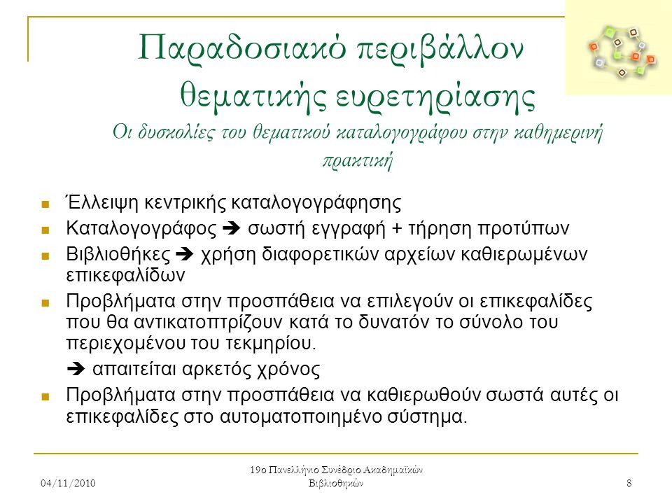 04/11/2010 19ο Πανελλήνιο Συνέδριο Ακαδημαϊκών Βιβλιοθηκών 9 Παραδοσιακό περιβάλλον θεματικής ευρετηρίασης Οι δυσκολίες του θεματικού καταλογογράφου στην καθημερινή πρακτική  Τα προβλήματα μπορεί να προκύψουν από:  ταυτόχρονη χρήση παλαιότερης και νεότερης «έκδοσης» ενός καταλόγου επικεφαλίδων  μη σωστή κατανόηση και χρήση των οδηγιών των Unimarc Authorities ή Marc21 Format for Authority Data  μη σωστή απόδοση στην ελληνική ξενόγλωσσων επικεφαλίδων  άλλες περιπτώσεις (επικεφαλίδες που θίγουν εθνικά ζητήματα, που δεν ανταποκρίνονται στην ελληνική πραγματικότητα κ.ά.)