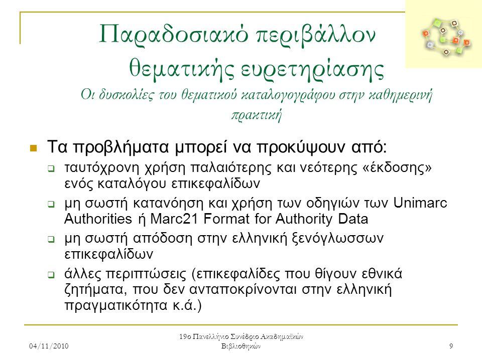 04/11/2010 19ο Πανελλήνιο Συνέδριο Ακαδημαϊκών Βιβλιοθηκών 9 Παραδοσιακό περιβάλλον θεματικής ευρετηρίασης Οι δυσκολίες του θεματικού καταλογογράφου σ