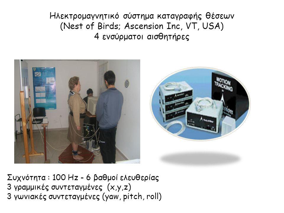 Ηλεκτρομαγνητικό σύστημα καταγραφής θέσεων (Nest of Birds; Ascension Inc, VT, USA) 4 ενσύρματοι αισθητήρες Συχνότητα : 100 Hz - 6 βαθμοί ελευθερίας 3