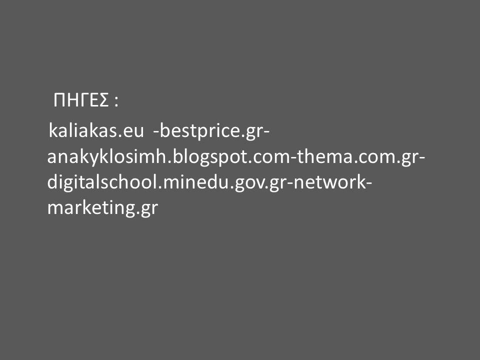 ΠΗΓΕΣ : kaliakas.eu -bestprice.gr- anakyklosimh.blogspot.com-thema.com.gr- digitalschool.minedu.gov.gr-network- marketing.gr