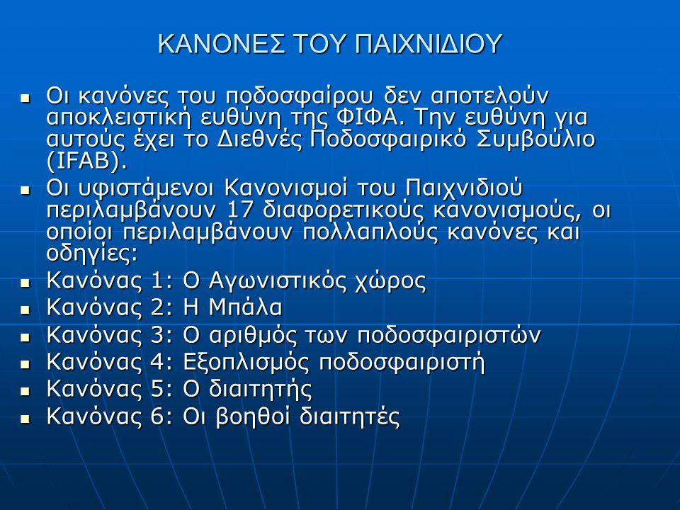  Κανόνας 7: Διάρκεια του αγώνα  Κανόνας 8: Έναρξη και επανέναρξη του παιχνιδιού  Κανόνας 9: Η μπάλα εντός και εκτός παιχνιδιού  Κανόνας 10: Μέθοδος επίτευξης τέρματος  Κανόνας 11: Παίκτης εκτός παιχνιδιού (Οφσάιντ)  Κανόνας 12: Παραβάσεις και ανάρμοστη συμπεριφορά (Φάουλ)  Κανόνας 13: Ελεύθερο λάκτισμα (άμεσο και έμμεσο)  Κανόνας 14: Επανορθωτικό λάκτισμα (Πέναλτι)  Κανόνας 15: Επαναφορά από την πλάγια γραμμή (Πλάγιο άουτ)  Κανόνας 16: Από τέρματος λάκτισμα (Άουτ)  Κανόνας 17: Το γωνιαίο λάκτισμα (Κόρνερ)