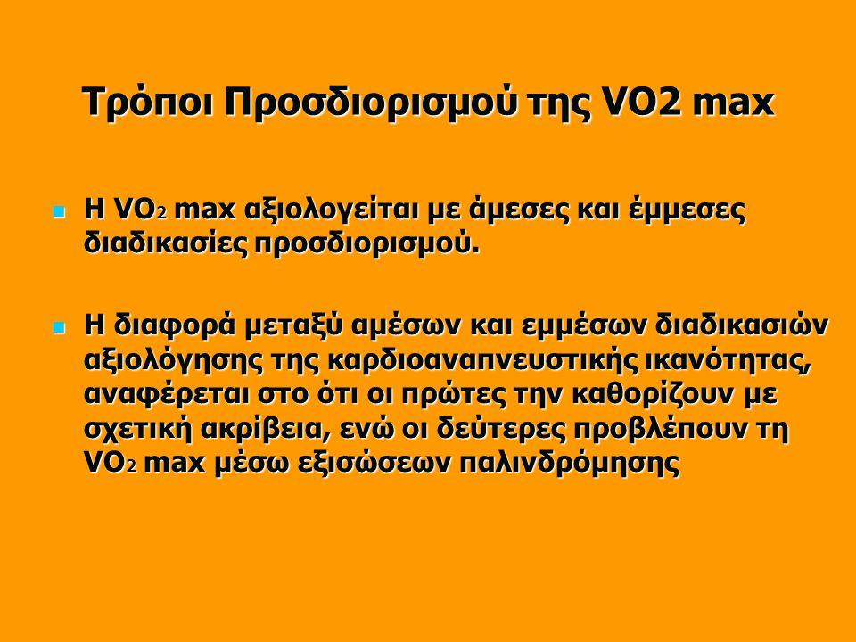 Τρόποι Προσδιορισμού της VΟ2 max  Η VΟ 2 max αξιολογείται με άμεσες και έμμεσες διαδικασίες προσδιορισμού.  Η διαφορά μεταξύ αμέσων και εμμέσων διαδ