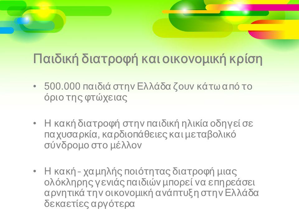 Παιδική διατροφή και οικονομική κρίση •500.000 παιδιά στην Ελλάδα ζουν κάτω από το όριο της φτώχειας •Η κακή διατροφή στην παιδική ηλικία οδηγεί σε πα