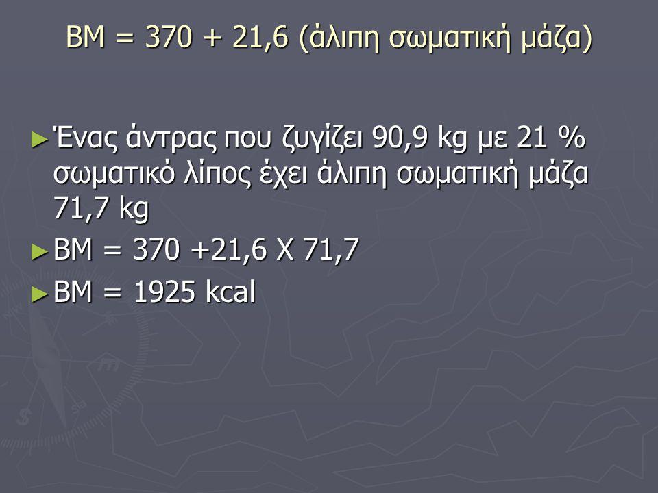 ΒΜ = 370 + 21,6 (άλιπη σωματική μάζα) ► Ένας άντρας που ζυγίζει 90,9 kg με 21 % σωματικό λίπος έχει άλιπη σωματική μάζα 71,7 kg ► ΒΜ = 370 +21,6 Χ 71,