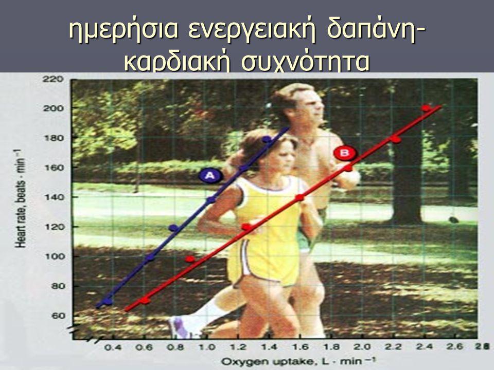 ημερήσια ενεργειακή δαπάνη- καρδιακή συχνότητα