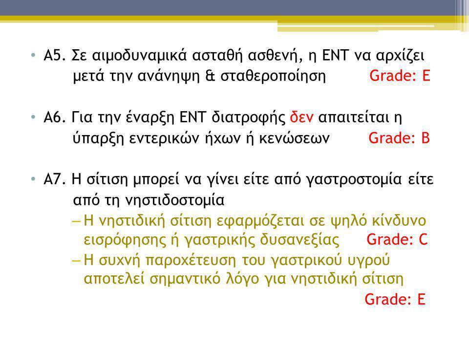 • Α5. Σε αιμοδυναμικά ασταθή ασθενή, η ΕΝΤ να αρχίζει μετά την ανάνηψη & σταθεροποίηση Grade: Ε • Α6. Για την έναρξη ΕΝΤ διατροφής δεν απαιτείται η ύπ