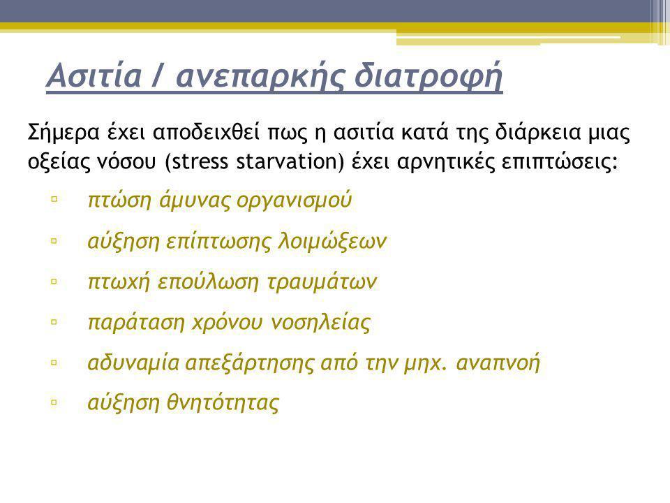 Ασιτία / ανεπαρκής διατροφή Σήμερα έχει αποδειχθεί πως η ασιτία κατά της διάρκεια μιας οξείας νόσου (stress starvation) έχει αρνητικές επιπτώσεις: ▫ π