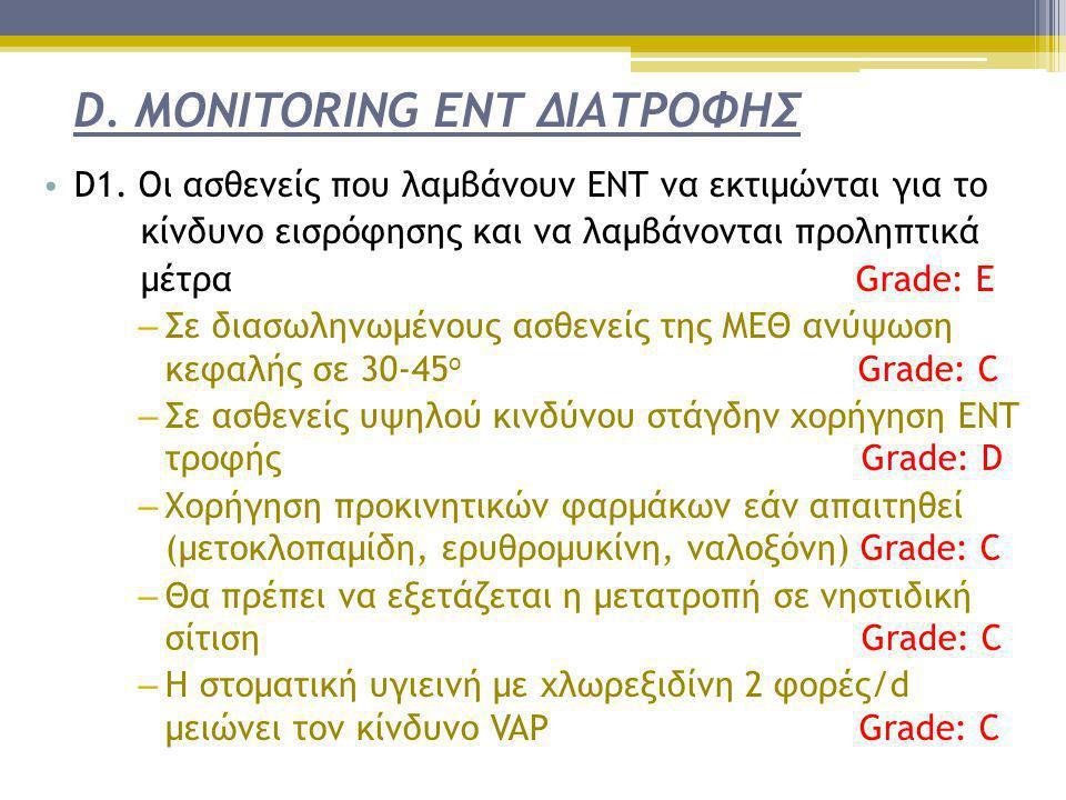 D. MONITORING ΕΝΤ ΔΙΑΤΡΟΦΗΣ • D1. Οι ασθενείς που λαμβάνουν ΕΝΤ να εκτιμώνται για το κίνδυνο εισρόφησης και να λαμβάνονται προληπτικά μέτρα Grade: Ε –