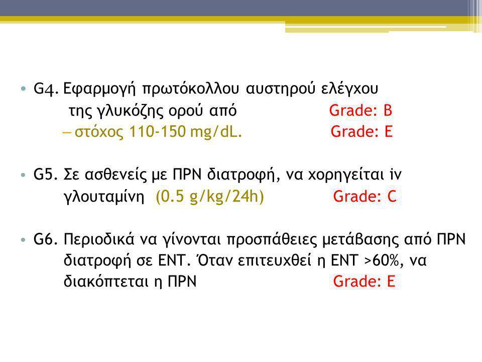 • G 4. Εφαρμογή πρωτόκολλου αυστηρού ελέγχου της γλυκόζης ορού από Grade: Β – στόχος 110-150 mg/dL. Grade: Ε • G5. Σε ασθενείς με ΠΡΝ διατροφή, να χορ