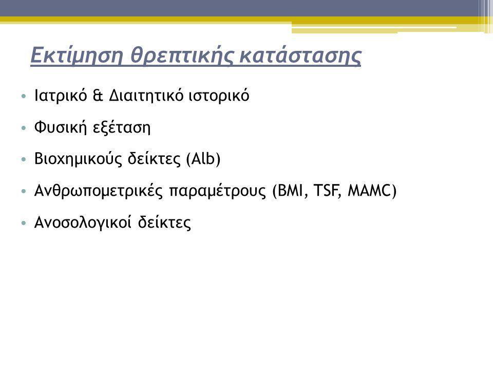 Εκτίμηση θρεπτικής κατάστασης • Ιατρικό & Διαιτητικό ιστορικό • Φυσική εξέταση • Βιοχημικούς δείκτες (Alb) • Ανθρωπομετρικές παραμέτρους (BMI, TSF, MA