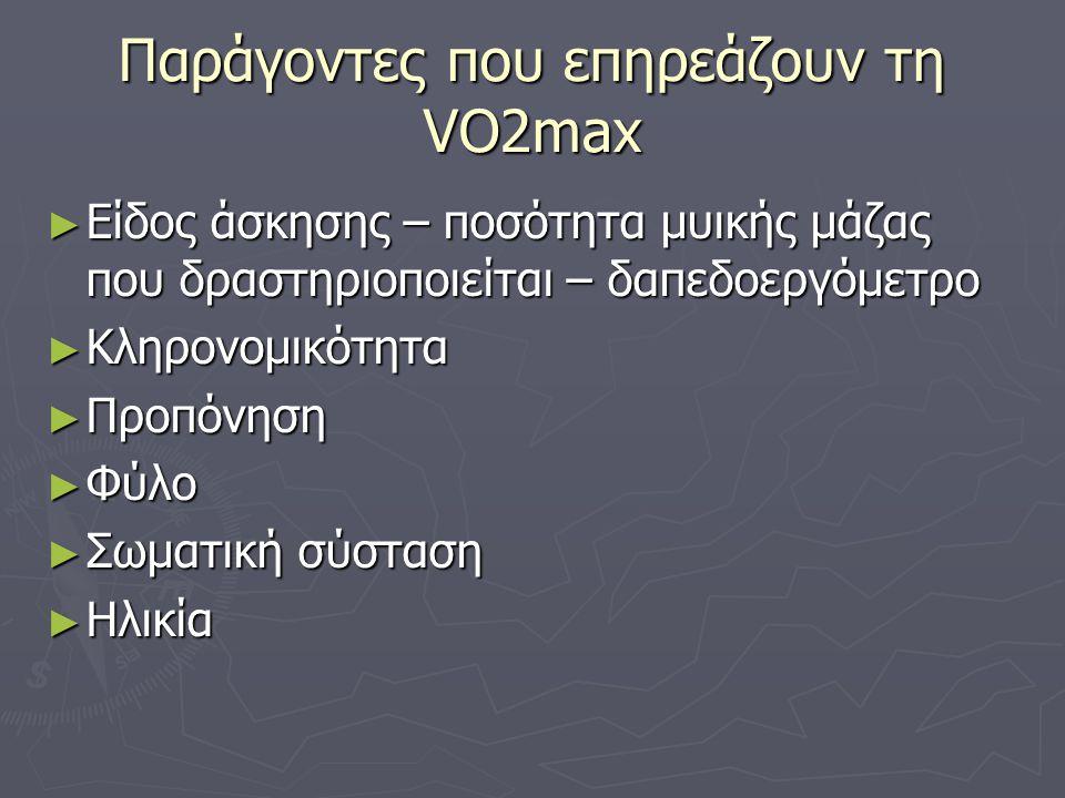 Παράγοντες που επηρεάζουν τη VO2max ► Είδος άσκησης – ποσότητα μυικής μάζας που δραστηριοποιείται – δαπεδοεργόμετρο ► Κληρονομικότητα ► Προπόνηση ► Φύ