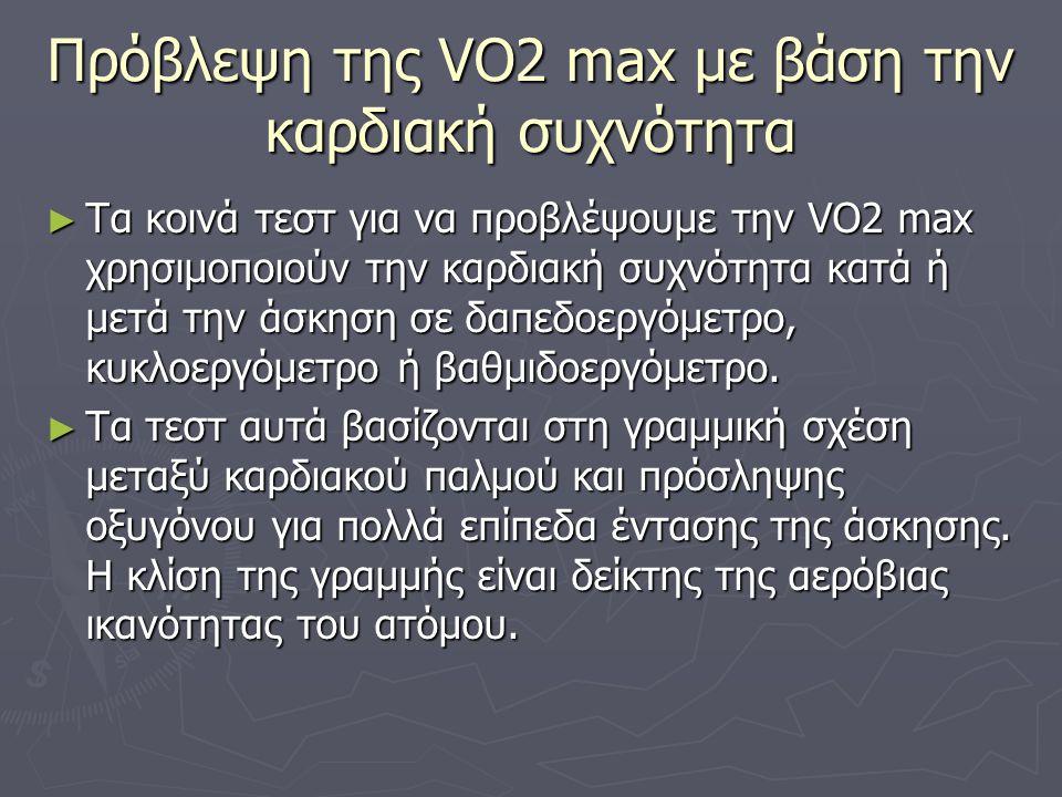 Πρόβλεψη της VO2 max με βάση την καρδιακή συχνότητα ► Τα κοινά τεστ για να προβλέψουμε την VO2 max χρησιμοποιούν την καρδιακή συχνότητα κατά ή μετά τη