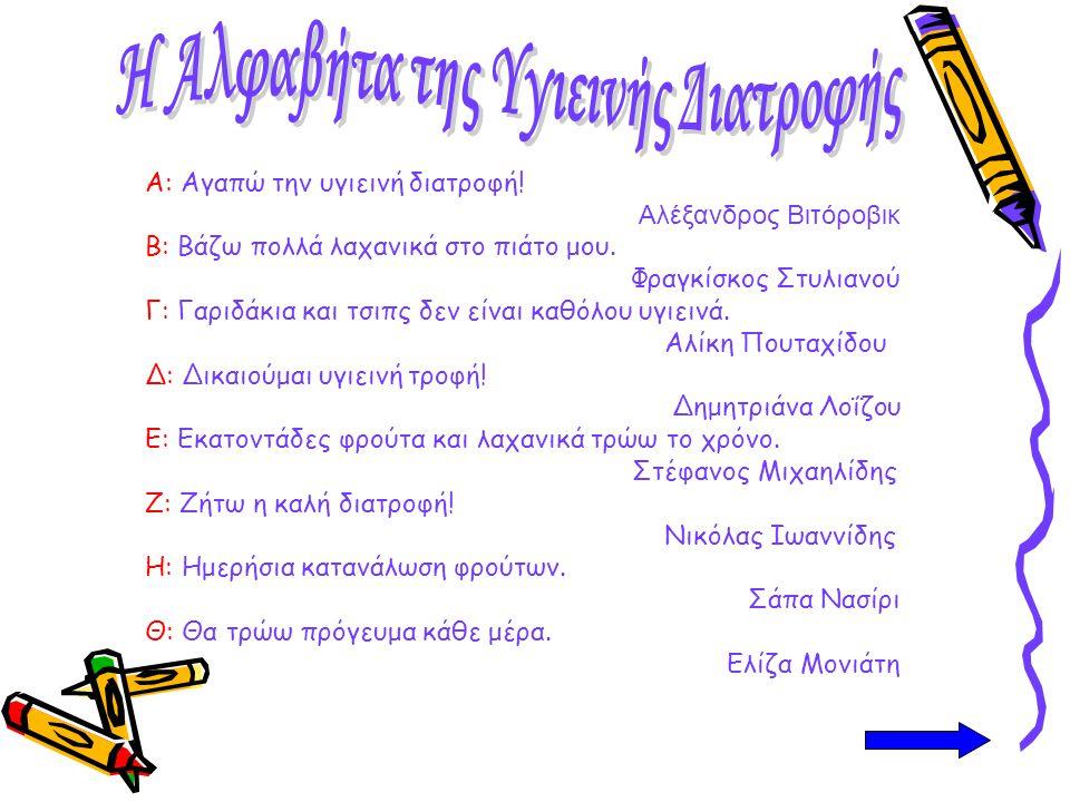 Α: Αγαπώ την υγιεινή διατροφή! Α λέξανδρος Βιτόροβικ Β: Βάζω πολλά λαχανικά στο πιάτο μου. Φραγκίσκος Στυλιανού Γ: Γαριδάκια και τσιπς δεν είναι καθόλ