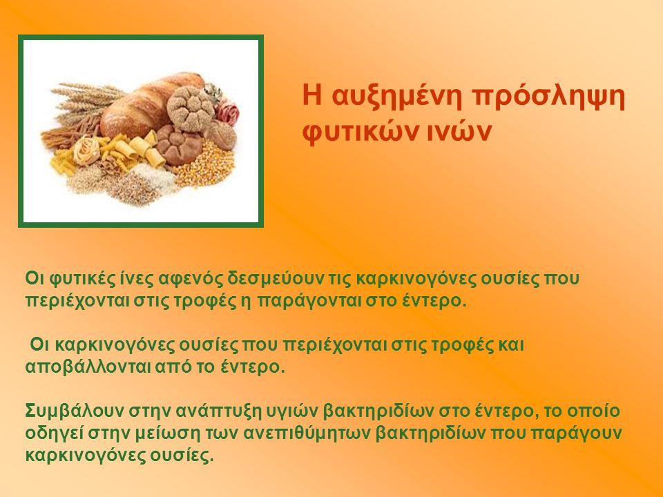 Η αυξημένη πρόσληψη φυτικών ινών Οι φυτικές ίνες αφενός δεσμεύουν τις καρκινογόνες ουσίες που περιέχονται στις τροφές η παράγονται στο έντερο. Oι καρκ