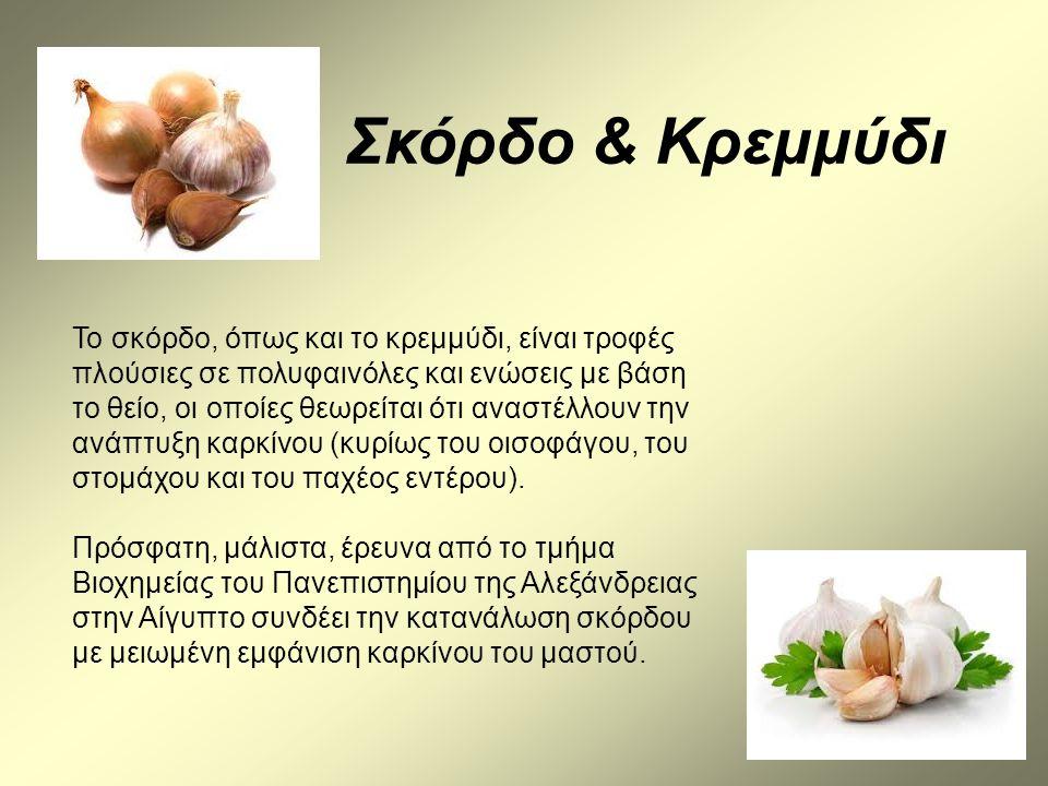 Το σκόρδο, όπως και το κρεμμύδι, είναι τροφές πλούσιες σε πολυφαινόλες και ενώσεις με βάση το θείο, οι οποίες θεωρείται ότι αναστέλλουν την ανάπτυξη κ