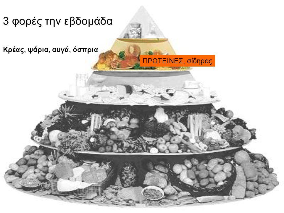 3 φορές την εβδομάδα Κρέας, ψάρια, αυγά, όσπρια ΠΡΩΤΕΙΝΕΣ, σίδηρος