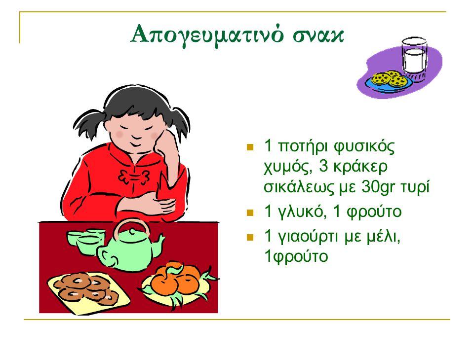 Απογευματινό σνακ  1 ποτήρι φυσικός χυμός, 3 κράκερ σικάλεως με 30gr τυρί  1 γλυκό, 1 φρούτο  1 γιαούρτι με μέλι, 1φρούτο