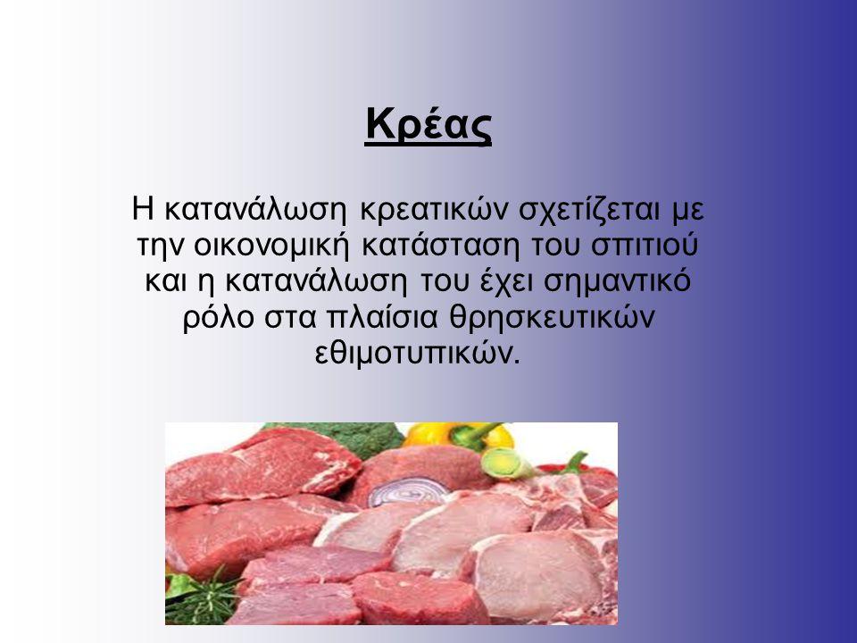 Κρέας Η κατανάλωση κρεατικών σχετίζεται με την οικονομική κατάσταση του σπιτιού και η κατανάλωση του έχει σημαντικό ρόλο στα πλαίσια θρησκευτικών εθιμ