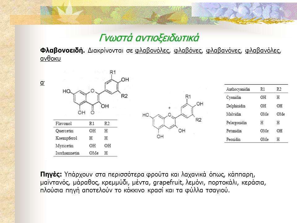 Γνωστά αντιοξειδωτικά Φλαβονοειδή. Διακρίνονται σε φλαβονόλες, φλαβόνες, φλαβανόνες, φλαβανόλες, ανθοκυ ανίδες. Πηγές: Υπάρχουν στα περισσότερα φρούτα