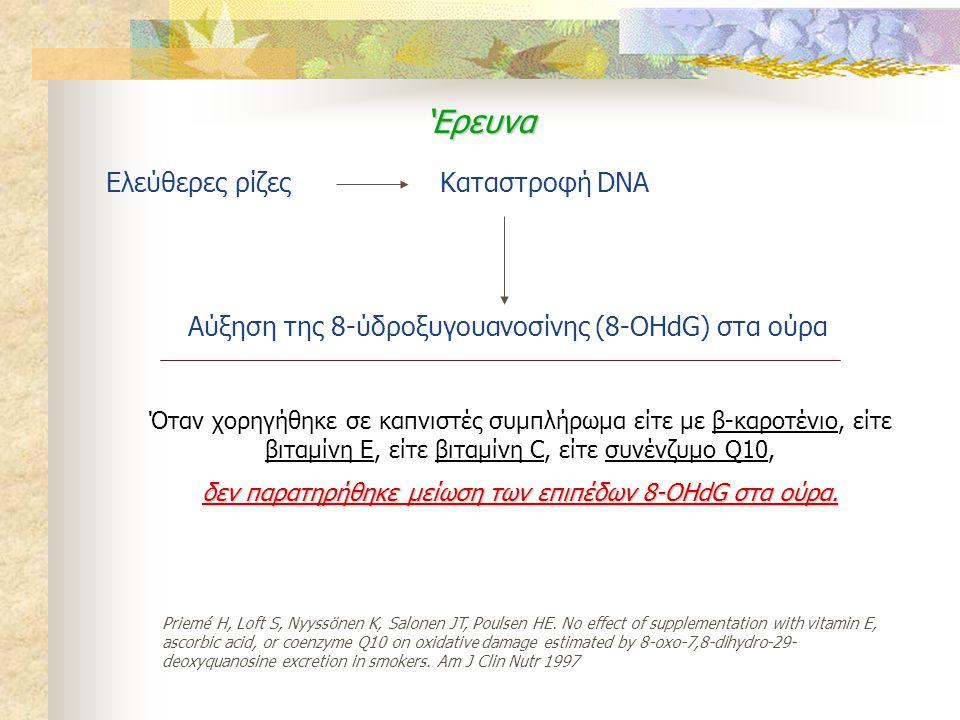 Ελεύθερες ρίζεςΚαταστροφή DNA Αύξηση της 8-ύδροξυγουανοσίνης (8-OHdG) στα ούρα 'Ερευνα Όταν χορηγήθηκε σε καπνιστές συμπλήρωμα είτε με β-καροτένιο, εί