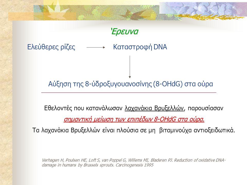Ελεύθερες ρίζεςΚαταστροφή DNA Αύξηση της 8-ύδροξυγουανοσίνης (8-OHdG) στα ούρα 'Ερευνα Εθελοντές που κατανάλωσαν λαχανάκια Βρυξελλών, παρουσίασαν σημα