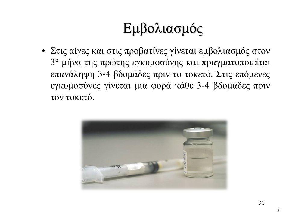 31 Εμβολιασμός •Στις αίγες και στις προβατίνες γίνεται εμβολιασμός στον 3 ο μήνα της πρώτης εγκυμοσύνης και πραγματοποιείται επανάληψη 3-4 βδομάδες πριν το τοκετό.