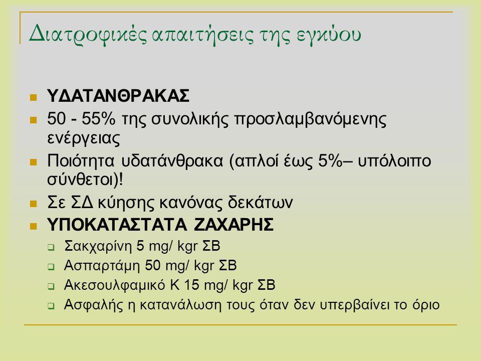 Διατροφικές απαιτήσεις της εγκύου  ΥΔΑΤΑΝΘΡΑΚΑΣ  50 - 55% της συνολικής προσλαμβανόμενης ενέργειας  Ποιότητα υδατάνθρακα (απλοί έως 5%– υπόλοιπο σύ