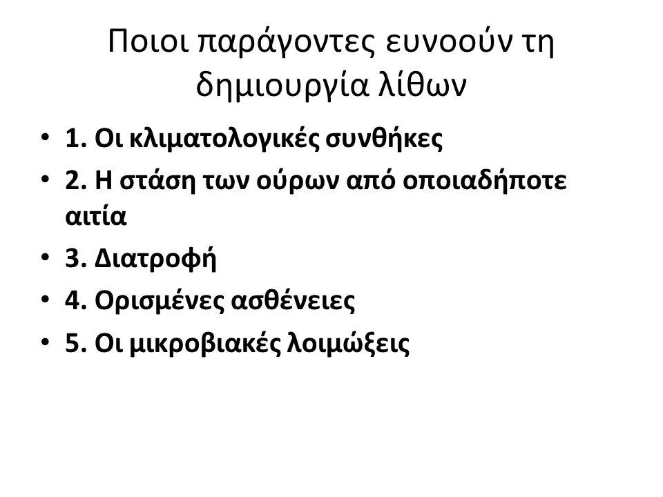 Ποιοι παράγοντες ευνοούν τη δημιουργία λίθων • 1.Οι κλιματολογικές συνθήκες • 2.