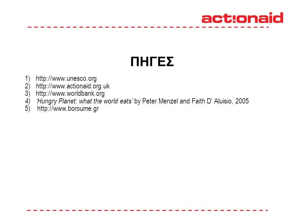 ΠΗΓΕΣ 1)http://www.unesco.org 2)http://www.actionaid.org.uk 3)http://www.worldbank.org 4) 'Hungry Planet: what the world eats' by Peter Menzel and Faith D' Aluisio, 2005 5) http://www.boroume.gr